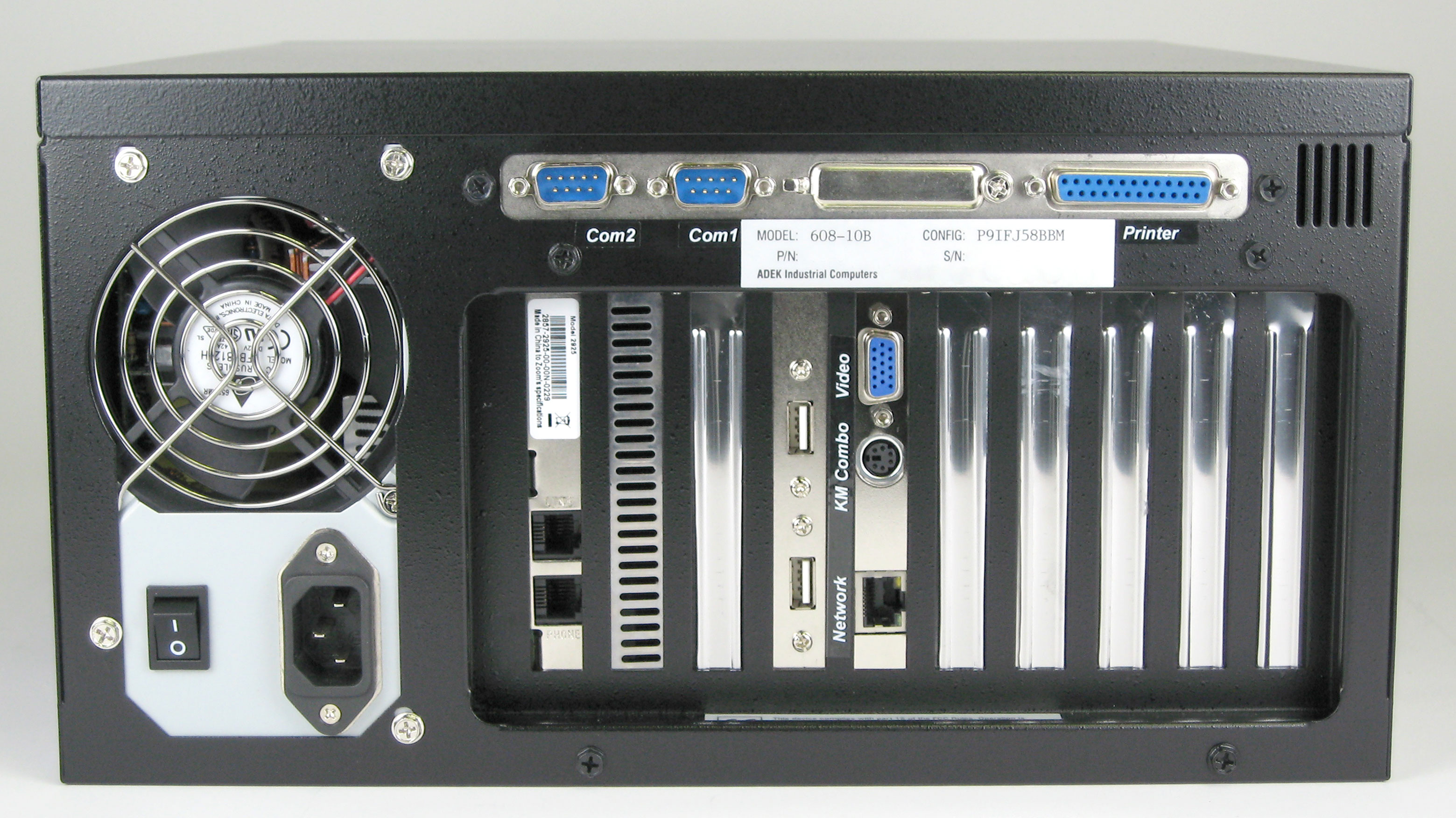 10-Slot Panel Mount Computer Rear